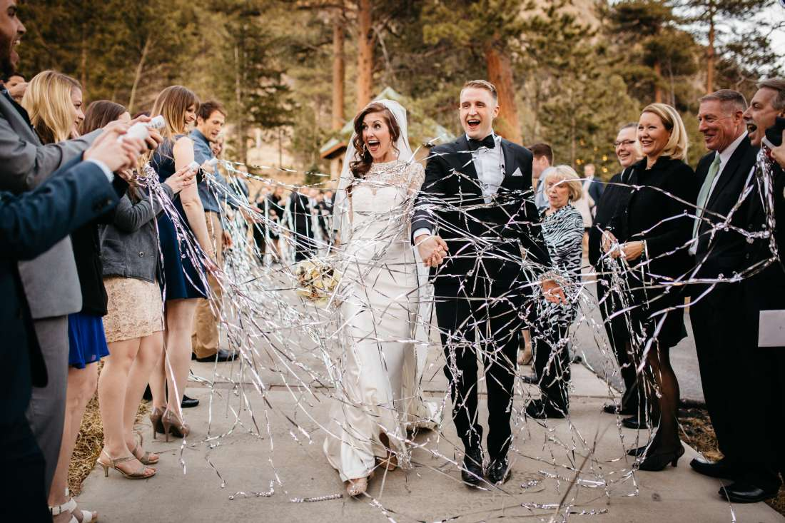 Non Traditional Wedding Reception Exit With Streamers